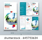Business tri fold brochure design. Teal tri fold flyer. Layout with modern shaped photo and abstract background. Creative concept folded flyer or brochure. | Shutterstock vector #645753634