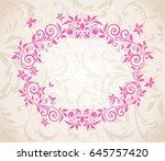 beautiful decorative floral card | Shutterstock . vector #645757420