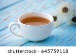 hot tea with a bouquet of... | Shutterstock . vector #645759118