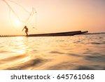fisherman on a fishing boat in... | Shutterstock . vector #645761068