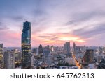 blurred cityscape of bangkok... | Shutterstock . vector #645762313
