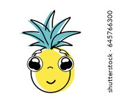 kawaii cute shy pineapple... | Shutterstock .eps vector #645766300