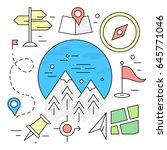 linear travel elements. hiking... | Shutterstock .eps vector #645771046