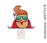 vector funny cartoon cute brown ... | Shutterstock .eps vector #645771178