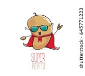 vector funny cartoon cute brown ... | Shutterstock .eps vector #645771223