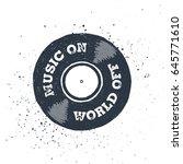 hand drawn 90s themed badge... | Shutterstock .eps vector #645771610