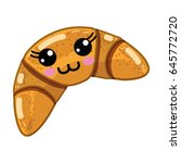 kawaii cute happy croissant... | Shutterstock .eps vector #645772720