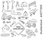 constructions signs and tools... | Shutterstock .eps vector #64577305