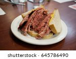 montreal smoked meat sandwich  | Shutterstock . vector #645786490