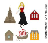 city sights icons. norway... | Shutterstock .eps vector #645788650