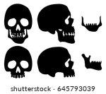 Black Silhouette Skull Set....