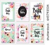 vintage birthday set design...   Shutterstock .eps vector #645793534