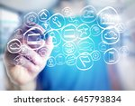 view of a technology hand drawn ... | Shutterstock . vector #645793834