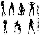 female stripper silhouettes... | Shutterstock .eps vector #64579879
