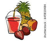 strawberry smoothie colored... | Shutterstock .eps vector #645810484