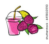raspberry smoothie colored... | Shutterstock .eps vector #645810550