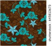 vector seamless pattern flowers ... | Shutterstock .eps vector #645813673