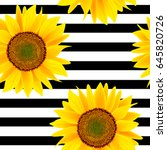 Sunflowers On A Striped Black...
