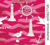 nautical seamless pattern with... | Shutterstock .eps vector #645827728