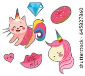 fashion patch badges with... | Shutterstock .eps vector #645827860