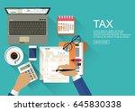 flat design.tax payment.... | Shutterstock .eps vector #645830338