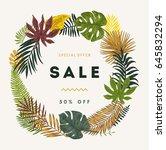 botanical illustration tropical ... | Shutterstock .eps vector #645832294