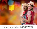 brazilian couple wearing... | Shutterstock . vector #645837094