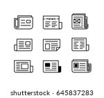 newspaper icons. icon set for... | Shutterstock .eps vector #645837283