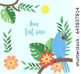 vector tropical elements on... | Shutterstock .eps vector #645837814