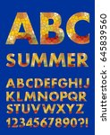 alphabet in summer colors ...   Shutterstock .eps vector #645839560