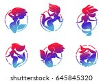 set of color graphic mermaid... | Shutterstock .eps vector #645845320