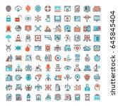vector set of 150 flat line web ... | Shutterstock .eps vector #645845404