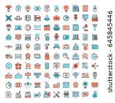vector set of 150 flat line web ... | Shutterstock .eps vector #645845446