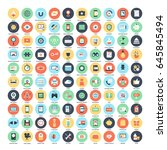 vector set of 150 flat web... | Shutterstock .eps vector #645845494