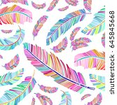 boho feather collection  hand... | Shutterstock .eps vector #645845668