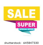 super sale vector banner.  50... | Shutterstock .eps vector #645847330