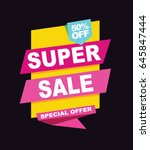 super sale vector banner.  50... | Shutterstock .eps vector #645847444