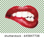 photo realistic vector kiss.... | Shutterstock .eps vector #645847738
