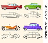 collection with retro car in... | Shutterstock .eps vector #645848284
