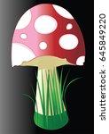 red mushroom with grass | Shutterstock .eps vector #645849220