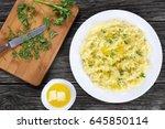 delicious hot mashed potato... | Shutterstock . vector #645850114