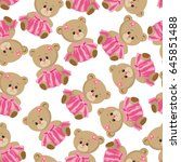 lovely pattern with teddy bear... | Shutterstock .eps vector #645851488