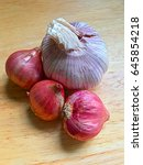 close up of red onion and... | Shutterstock . vector #645854218