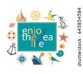 nautical poster concept. set of ... | Shutterstock .eps vector #645854584