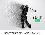 silhouette of a golf player.... | Shutterstock .eps vector #645856198