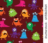 seamless background with a cute ... | Shutterstock . vector #645863464