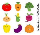 vegetable icon set. pepper ... | Shutterstock .eps vector #645863494