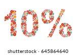 10  vector percentage number ... | Shutterstock .eps vector #645864640
