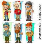 cartoon standing tourist and... | Shutterstock .eps vector #645878020