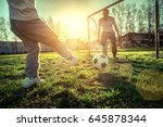 father and son playing together ... | Shutterstock . vector #645878344